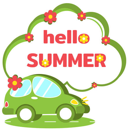 Cute green car and big speech bubble in form of cloud with inscription Hello Summer. Summer travel hitchhiking. Family trips out of town to nature. Template banner, poster for your advertisement