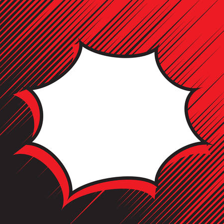 Retro empty comic speech bubble with diagonal lines in red black background. Mockup for comic book and manga. Vector bright dynamic cartoon illustration. Pop-art style. Template for your design