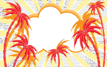 Retro empty comic speech bubble with radial diverging rays like sun. Summer tropical background with palm trees silhouettes. Pop-art style. Template for holiday poster, summer beach party, hot sale