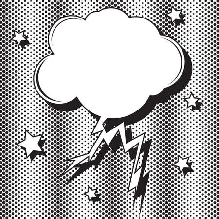 Retro empty speech bubble in form of cloud with lightning striking. Pop art. Vector illustration with stars and halftone dots. Mockup for comic book and manga. Template for your design