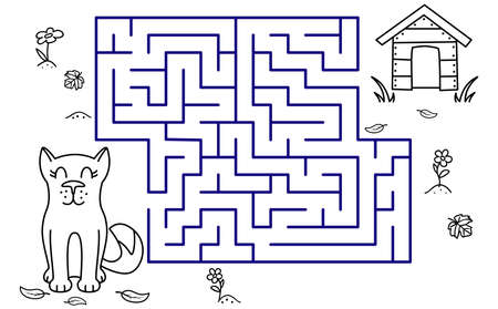 Black coloring pages with maze. Cartoon dog and booth. Kids education art game. Template design with pet on white background. Outline vector