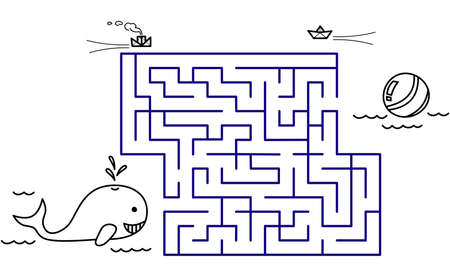 Black coloring pages with maze. Cartoon whale and ball. Kids education art game. Template design with sea animal on white background. Outline vector