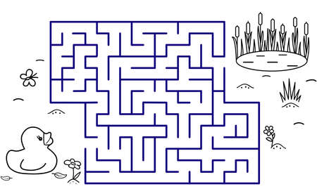 Black coloring pages with maze. Cartoon duck, pond and reeds. Kids education art game. Template design with bird on white background. Outline vector Vectores