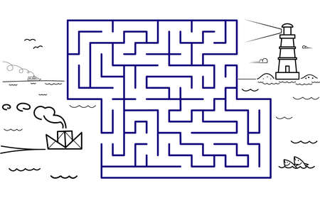 Black coloring pages with maze. Cartoon ship and lighthouse. Kids education art game. Template design with marine theme on white background. Outline vector