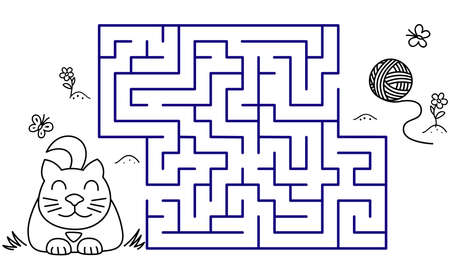 Black coloring pages with maze. Cartoon cat and clew. Kids education art game. Template design with pet on white background. Outline vector Vectores