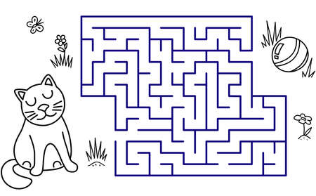 Black coloring pages with maze. Cartoon cat and ball. Kids education art game. Template design with pet on white background. Outline vector