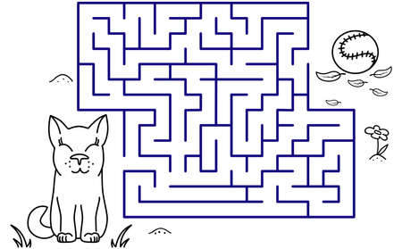Black coloring pages with maze. Cartoon dog and ball. Kids education art game. Template design with pet on white background. Outline vector
