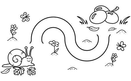 Black coloring pages with maze. Cartoon snail and grapes. Kids education art game. Template design with mollusk on white background. Outline vector illustration