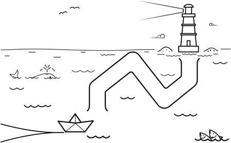 Black coloring pages with maze. Cartoon ship and lighthouse. Kids education art game. Template design with marine theme on white background. Outline vector illustration Vectores