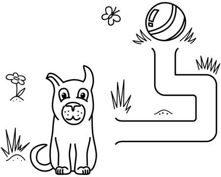 Black coloring pages with maze. Cartoon dog and stick. Kids education art game. Template design with pet on white background. Outline vector illustration