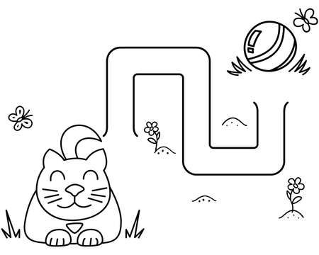 Black coloring pages with maze. Cartoon cat and clew. Kids education art game. Template design with pet on white background. Outline vector illustration