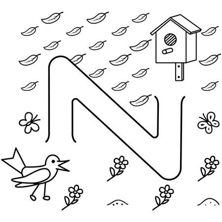 Black coloring pages with maze. Cartoon starling and birdhouse. Kids education art game. Template design with bird on white background. Outline vector illustration