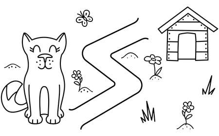 Black coloring pages with maze. Cartoon dog and booth. Kids education art game. Template design with pet on white background. Outline vector illustration