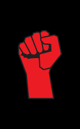 Red fist on black background. Concept of resistance, revolution, new changes. Use for printing on T-shirts, paper, textiles, poster, banner. Poster with empty field for your text. Template for design Vectores