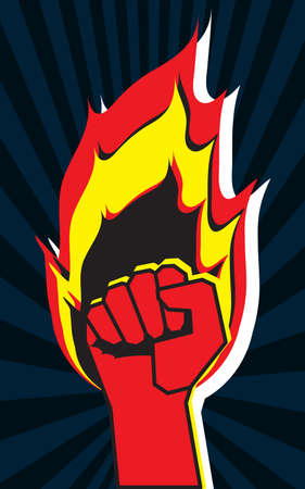 Hand on fire. Red fist as symbol of perseverance and will. Concept of resistance, revolution, new changes. Use for printing on T-shirts, paper, textiles, posters, banners. Template for your design