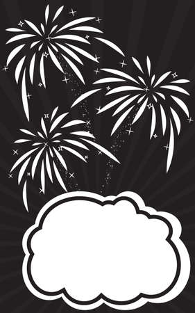 Retro empty comic speech bubble and explosions of fireworks. Festive poster with text box for your congratulations. Black and white colors vector illustration. Template dialogue cloud for your design