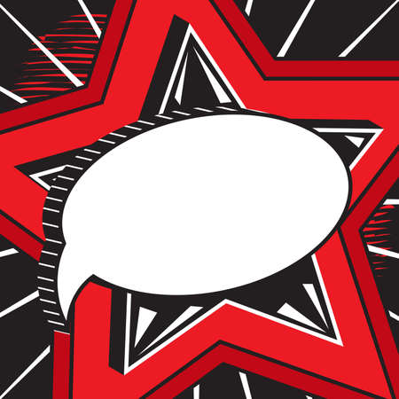 Retro empty comic speech bubble against background of big red star. Message with call to action, patriotic speeches. Banner for advertising, sale, promotion. Template dialogue cloud for design
