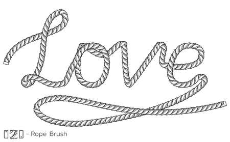 Rope inscription Love. Marine sketch design. Romantic, wedding decoration. Vector