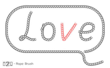Rope inscription Love in speech bubble. Marine sketch design. Romantic, Wedding decoration. Vector