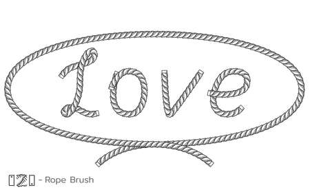 Rope inscription Love in oval frame. Marine sketch design. Romantic, wedding decoration. Vector