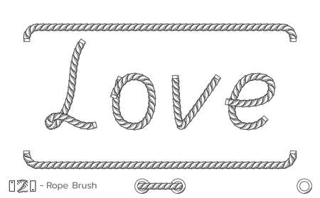 Rope inscription Love. Marine sketch design. Romantic wedding decoration. Vector Vectores