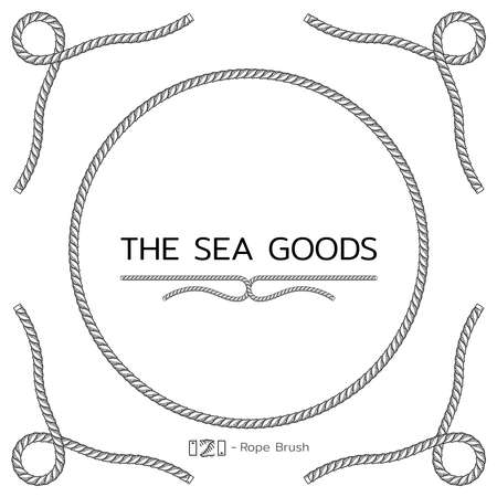 Rope design elements. Frame for text of marine theme. Template for nautical design. Sea speech bubble. Vector Vectores