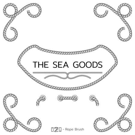 Rope design elements. Frame for text of marine theme. Template for nautical design. Sea speech bubble. Vector Иллюстрация