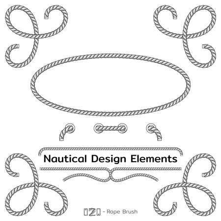 Rope design elements. Frame for text of marine theme. Template for nautical design. Sea speech bubble. Vector Ilustracje wektorowe