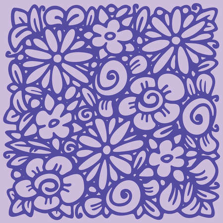 Flower frame in linear sketch style for florist shops, organic cosmetics, wedding. Emblem design template, flowers background in violet colors. Vector Vectores