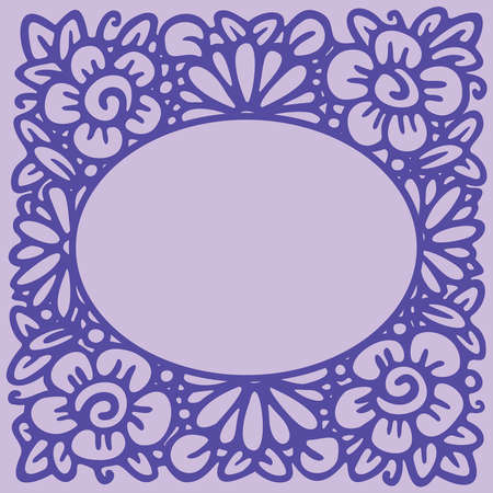 Flower frame in linear sketch style for florist shops, organic cosmetics, wedding. Emblem design template with copy space for text, flowers background in violet colors. Vector Vectores