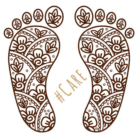 Footprint with floral mehndi ornament. Sketch of legs, skin care theme, pedicure or procedures. Illustration beauty and health. Vector