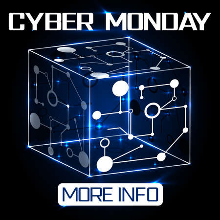 Cyber monday inscription. Advertising banner for websites and Internet. Sale in online shopping, electronic commerce. Design element for posters, flyers, promotional events
