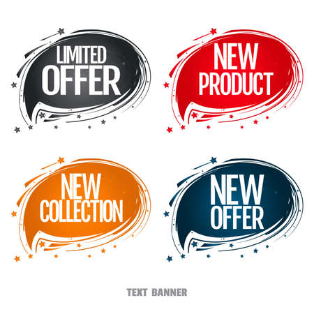 Limited offer. New Product. New collection. New offer. Creative design sticker for print or web, media, promotional material, web app banner, for web sites. Advertising sales banner template 矢量图像