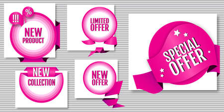 Special offer. Limited offer. New Product. New collection. New offer. Creative design sticker for print or web, promotional material, web app banner, for web sites. Advertising sales banner template