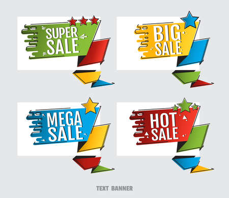 Super sale. Big sale. Mega sale. Hot sale. Creative design sticker for print or web, media, promotional material, web app banner, for web sites and social networks. Advertising sales banner template 矢量图像
