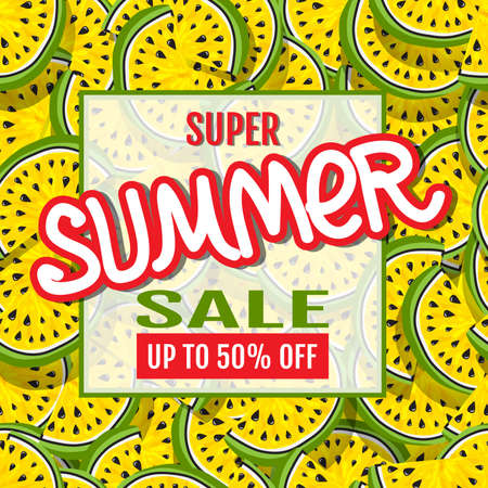 Super Summer Sale. Sales Banner. Watermelon abstract background. Template for design of advertising, flyers, brochures, websites. Use for printing on paper, textiles, posters, banners
