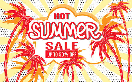 Hot Summer Sale. Sales Banner. Summer tropical background with palm trees silhouettes. Template for design of advertising, flyers, websites. Use for printing on paper, textiles, posters, banners 矢量图像