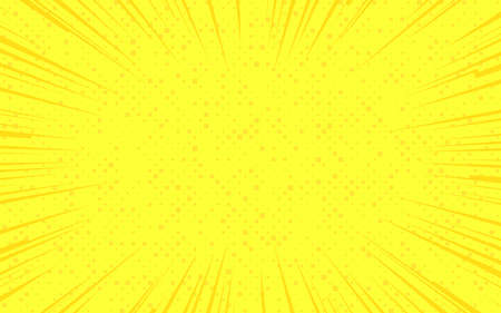 Flat design yellow comics background with space for text. Effect motion lines. Template for design of advertising, flyers, brochures, websites. Use for printing on paper, textiles, posters, banners
