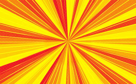 Radial speed lines with focus in center. Background with bright red, yellow colors rays, stripes. Template for design of advertising, flyers, websites. Use for printing on paper, textiles, banners