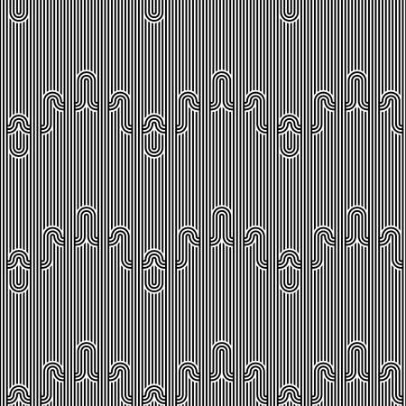 Seamless geometric striped pattern. Monochrome striped loopy ribbon, with maze elements. Geometric graphic texture. Endless striped monochrome background with winding elements. Vector illustration