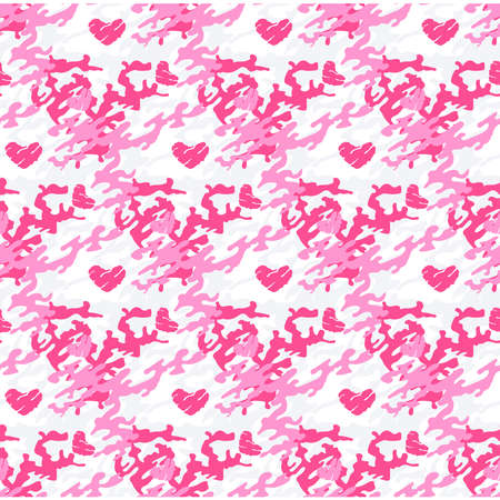 Red camouflage seamless pattern. Background for fashion design. Love, Valentine day theme. Vector illustration