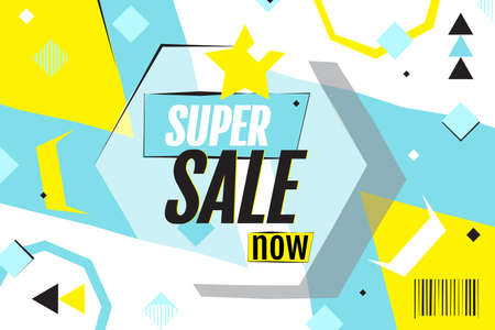 Super sale now. Memphis style poster. Abstract geometric background. Bright, modern flat design. Template banner for advertising. Presentation slide for business, party, festive, sale Ilustracja