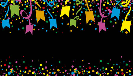 jubilation: June Festival with many confetti streamers and at night Illustration