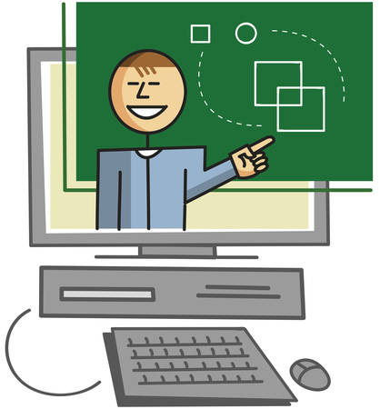 virtual classroom: Virtual teacher giving lessons over the internet