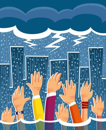 Schwere regen in der Stadt zu schaffen Überschwemmungen und Menschen um Hilfe bitten Standard-Bild - 40874297