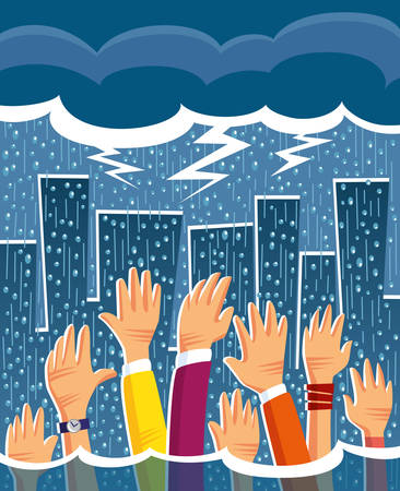 heavy rain in the city creating floods and people asking for help Illustration
