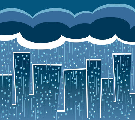 torrential: Big clouds over the city causing a heavy rain Illustration