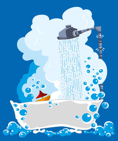 soapy: Ba�era llena de agua jabonosa con agua adjunto emaciaci�n ducha