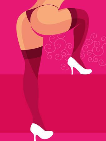 Sexy woman wearing panties and high heels