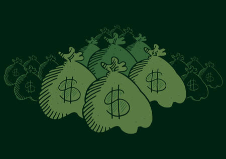 disfrazados: Muchas bolsas de dinero ocultas en la oscuridad